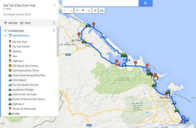 mapa Hai Van Pass na motorce